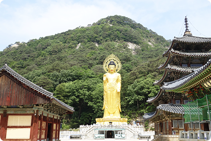 Colossal statue of Maitreya (Yonghwabojeon Hall) and Sujeongbong Peak